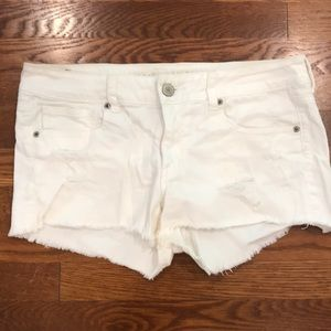 White American Eagle Distressed Denim Shorts